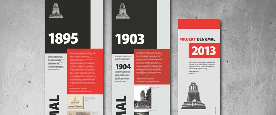 Aufsteller für Ausstellung zum Völkerschlachtdenkmal
