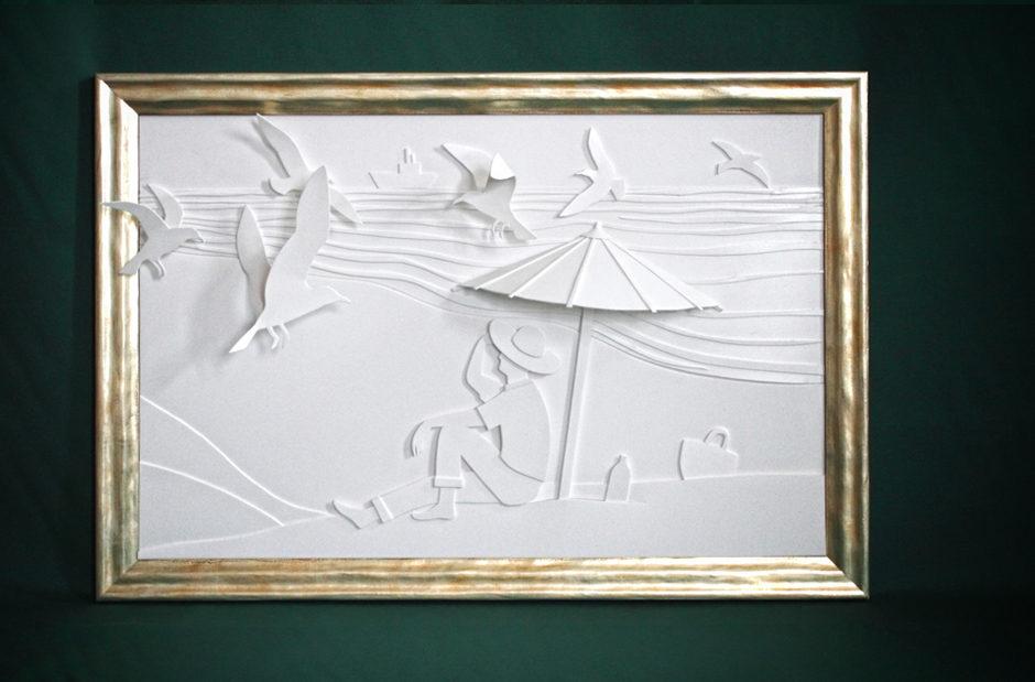 Strandszene All over white - Look 3D